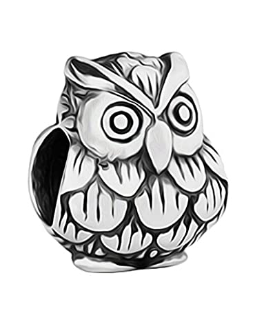 Baby Owl Silver Charm Bracelet Bead - Sterling Silver 925