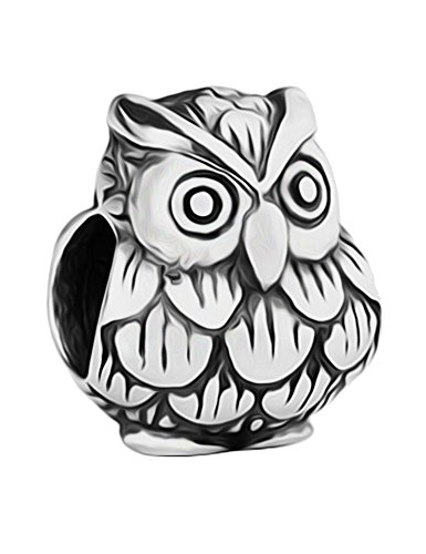 Baby Owl Silver Charm Bead - Sterling Silver 925 - Gift Packed