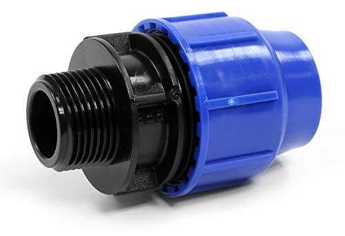 'PP connecteur de serrage pour tuyaux en PE 25 mm x 3/4 filetage extérieur