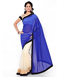 Satya Sita Net & Georgette Saree (Nj_Blue_Blue & White Net)