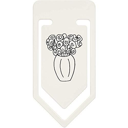 Azeeda 91mm 'Jarrón Rosas' Clip Papel Plástico Grande