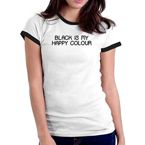 Maglietta Ringer da donna Black is my happy colour