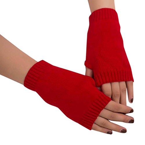 en Mädchen Strick Arm Fingerlose Warm Winter Handschuhe Soft Warm Handschuh (Rot) (Mädchen Rot Handschuhe)