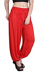 Myshka Womens Brown Green Red Solid Cotton Lycra Harem Pants (Pack Of 3) _HM0301106-free