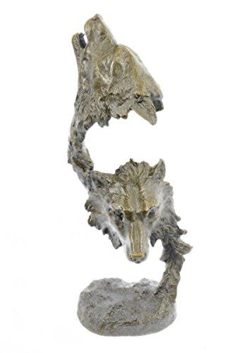 Selten Handmade Bronze Skulptur Bronze Statue zeichnetes Original Kanaev Zwei Wölfe Wolf-Kopf-Kopf Tier-Büste -EUdw-110- Decor Sammler Geschenk (Wolf Büste)