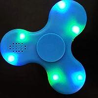 Led Blue Fidget Spinner with BLUETOOTH SPEAKER LIGHT HAND FIDGET SPINNER TOY EDC