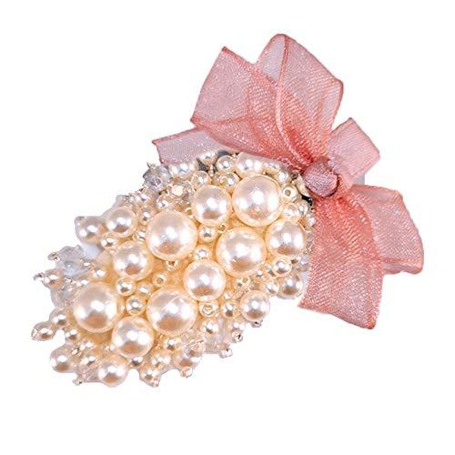 HShyxlkj Damen Haarspange, oval, Kunstperlen, mit Schleife, Rosa (Scunci Rosa)