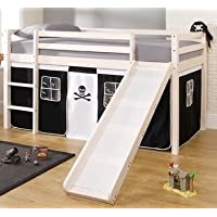Noa and Nani - Midsleeper Cabin Bed with Slide and Pirate Tent | Mattress Included - (Whitewashed Pine)