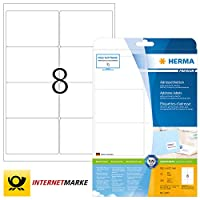 HERMA Self Adhesive Address Mailing Labels, 8 Labels Per A4 Sheet, 200 Labels For Laser And Inkjet Printers, 99.1 x 67.7 mm (5077)