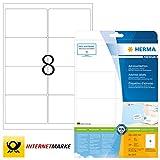 HERMA 5077 Adressaufkleber DIN A4 (99,1 x 67,7 mm, 25 Blatt, Papier, matt) selbstklebend, bedruckbar, permanent haftende Universal Etiketten, 200 Klebeetiketten, weiß