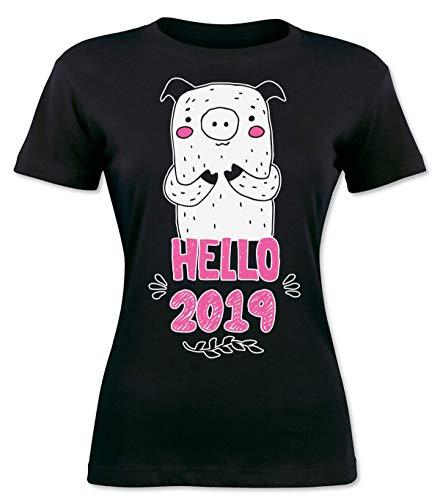 Hello 2019 New Pig Year Design Damen T-Shirt Small