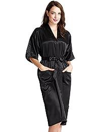 Aibrou Femmes satinée peignoir longue long robe Chemise de nuit chambre kimono coquet et féminin nuisette confortable Satin un goût Japon