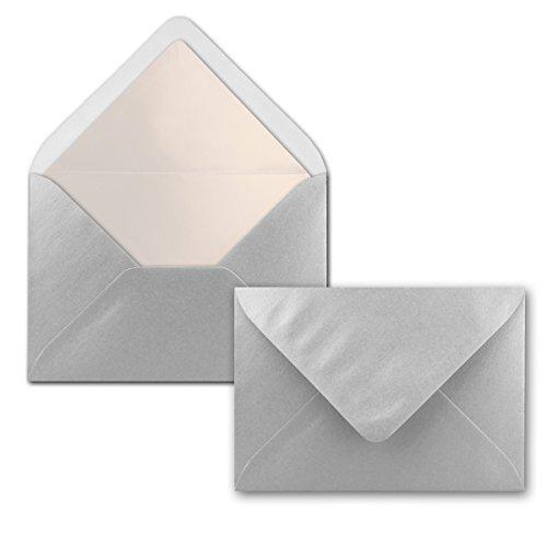 50 Brief-Umschläge Silber Metallic Glänzend - DIN C6 - gefüttert mit weißem Seidenpapier - 100 g/m² - 114 x 162 mm - Nassklebung - von Gustav NEUSER®