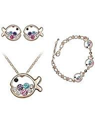 clásico (pequeña princesa pescado) platinado (incluye collar&Pendientes&set pulseras) joyas (multicolor)