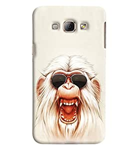 Blue Throat White Monkey With Glares Printed Designer Back Cover/Case For Samsung Galaxy A8