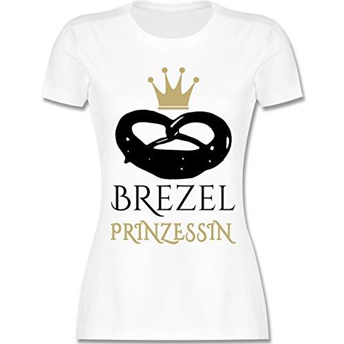 Oktoberfest Damen - Brezel Prinzessin - S - Weiß - L191 - Damen T-Shirt Rundhals