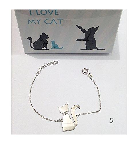 Pulsera con diseño de gato y plata de ley 925, diseño de I Love my dog Collar Matex artificial// plata