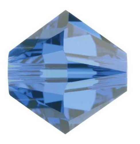 Creative-Beads Swarovski Perlen, Doppelkegel, konisch, 5328, Original, 8 mm, 10 Stück, capri blue, glitzernde Ohrringe, Armbänder Ketten selbermachen -