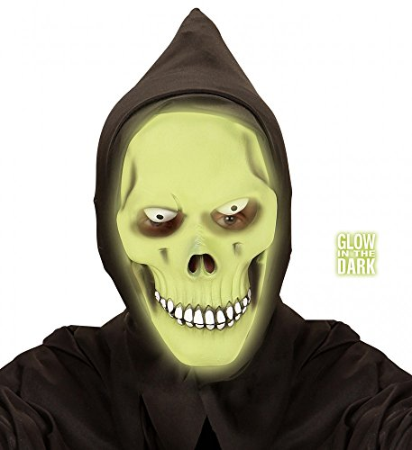 Horror-Maske Grüner Totenkopf Glow-in-the-dark Grim Reaper Halloween Skull Tod Latex (Dark In Maske Glow Scream The)