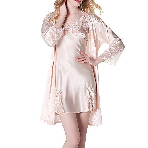 Sidiou Group Vestaglia di Raso Donna Kimono Raso Elegante Pigiama Vestaglia Raso Camicie da Notte per Donna Accappatoio Biancheria da Notte Abito da Notte Indumenti da Notte (Champagne, M)