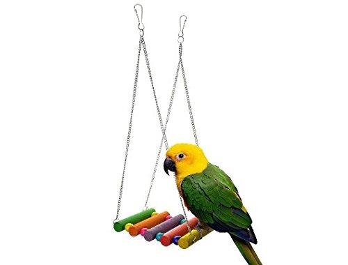 Fully 2x Holzschaukel Papagei Vogel Hamster Holz Schaukel Sitzstange Käfig Hängematte Spielzeug Hängende 11x8cm (Farbe zufällig)