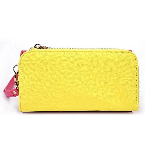 Kroo d'embrayage portefeuille avec dragonne et sangle bandoulière pour Lava Iris 404Flair/X1Mini Smartphone Multicolore - Green and Pink Multicolore - Magenta and Yellow