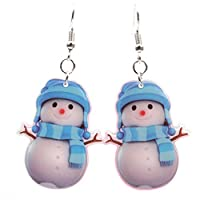 MSYOU Christmas Earring Cartoon Snowman Pendant Acrylic Earrings Ladies Women Girl Jewelry Gift for Mother Daughter Friend(Red)