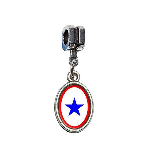 (Blue Star Flagge–One 1Krieg Mutter Service Italienisches europäischen Euro-Stil Armband Charm Bead–für Pandora, Biagi, Troll,, Chamilla,, andere)
