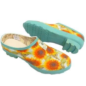 Ladies Green Floral Rhs Hunter Rubber Slip On Garden Clog Shoes