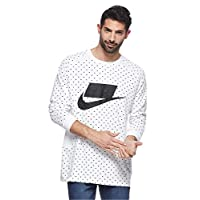 Nike Top LS Knt T-Shirt For Men, Size 2XL (SUMMIT WHITE/SUMMIT WHITE/BL)