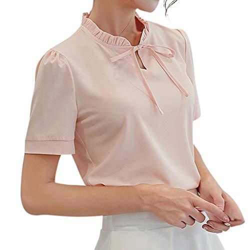 CAOQAO Elegante Einfarbig Stil Fantasie Sommer Büro Kurzarm Führenden Knoten Treffen Geburtstag Robustes Chiffon Hemd T-Shirt(Rosa,XXL)