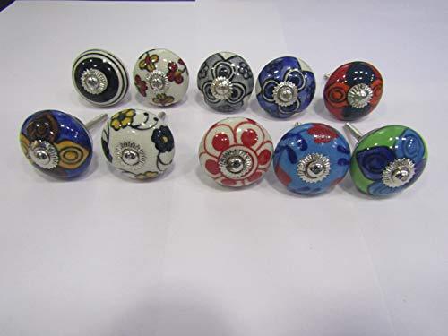 Möbelknöpfe, Keramik, verschiedene Farben, 10 Stück Lot of 10 mehrfarbig - Keramik-möbelknopf