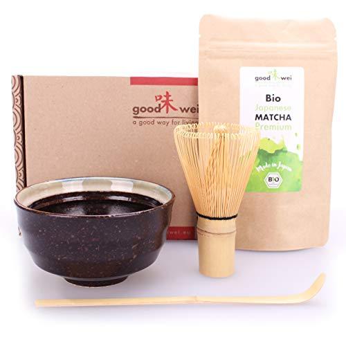 Goodwei Set di tè Matcha: 30g tè Matcha da Agricoltura Biologica con Ciotola per Matcha, Frullino e Cucchiaio di bambù (Kumo)