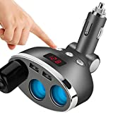 Knowled Chargeur Allume Cigare USB Chargeur de Voiture Portable avec 3 Prises et 2 Ports USB, Adaptateur Allume Cigare 12V / 24V avec Interrupteurs Indépendants
