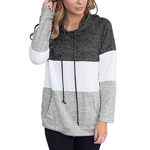 ESAILQ Womens Winter Color Matching Solid Patchwork Hooded Sweatshirt Casual Blouse Christmas Sweater