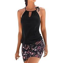 LAND-FOX Mujer Vestidos | Mujer Vestir Ropa | Mujer Sexy Falda Chaleco Camisetas | Blusa De Fiesta Mujer | Tops Mujer Verano | Ropa De Mujer | Camisas Largas Mujer | (M, A)