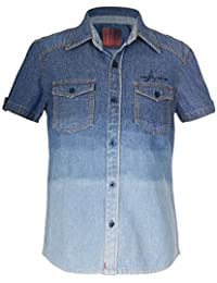 Naughty Ninos Boys Denim Ombre Short Sleeve Shirt For 2 to 14 Years
