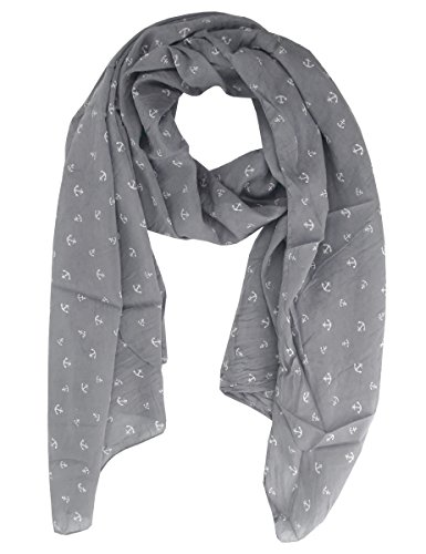 Lovely Lauri Damen Tuch Schal Anker maritim Made in Italy Baumwolle Seide weich Dunkelgrau