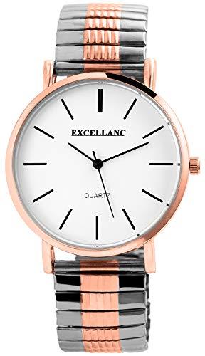 EXCELLANC Herrenuhr Weiß Silber Rosègold Analog Metall Zugarmband Quarz Armbanduhr