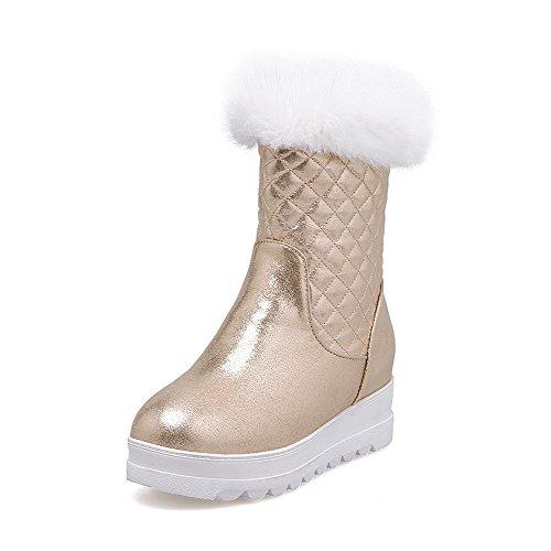 AllhqFashion Damen Mittler Absatz Weiches Material Rein Reißverschluss Stiefel, Weiß, 41