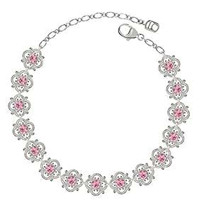 Lucia Costin .925 Silver, Light Pink Swarovski Crystal Bracelet, Irresistible