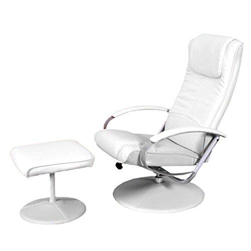 Relaxliege Relaxsessel Fernsehsessel N44 mit Hocker ~ weiß