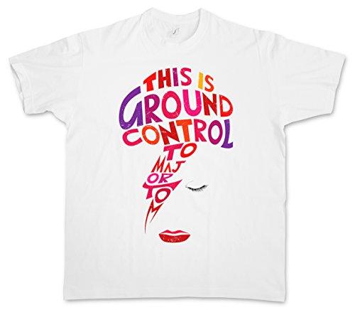 """Major Tom """"J"""" T-Shirt – Ziggy David Ground Control Bowie Music Stardust Taglie S – 5XL Bianco"""
