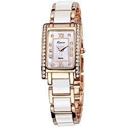 Alienwork Quartz Watch Rhinestone Wristwatch elegant Metal white rose gold YH.KW510-04