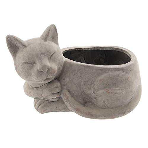 LAC Blumentopf mit schlafender Katze, 26 cm, terrakottafarben (Katze Blumentopf)