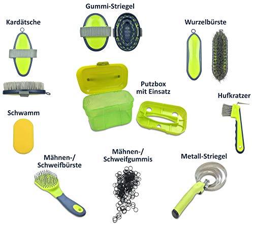 Adozen Pferde-Putzbox mit Inhalt für Kinder und Erwachsene | 9-Teilig befüllt | Soft Touch Antirutschgriffe | Limette-Grün-Gelb - 3