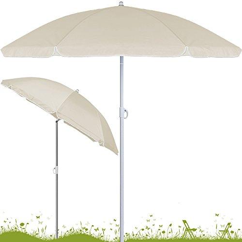 Sonnenschirm höhenverstellbar mit Neigefunktion 180cm beige - Strandschirm Marktschirm Gartenschirm