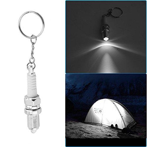 Gugutogo Novità portachiavi torcia elettrica portachiavi auto ricambi portachiavi a forma di candela (colore: argento e bianco)