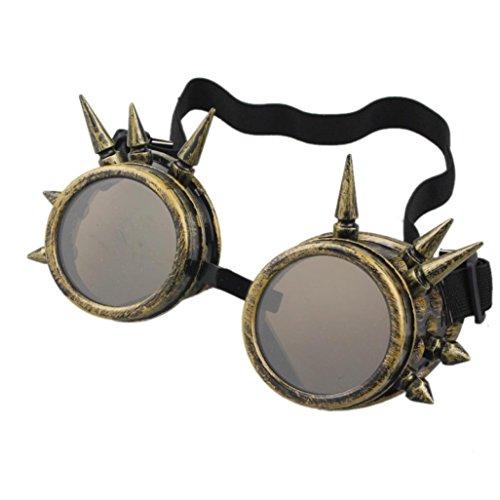 TUDUZ Vintage StilRivet Steampunk Winddicht Spiegel Weinlese Gotische Objektive Goggles Cosplay Brille (B) (Verrückte Faschingskostüm)