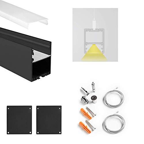 LED Leuchtenprofil Set inkl. Abdeckung Opal LED Profil Set inkl. Aufhängesystem mit Drahtseil f. LED-Streifen (PN17 2 Meter Opal schwarz)